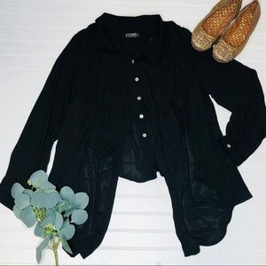 YOINS Sheer Button Up Fly Away Blouse